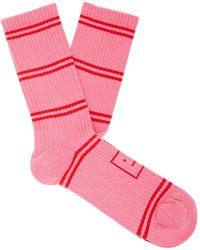 Acne Studios Face Striped Ribbed Cotton-blend Socks - Pink