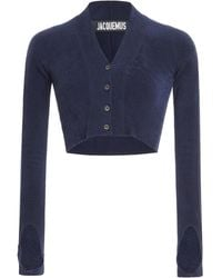 Jacquemus Cropped Brushed Stretch-knit Cardigan - Blue