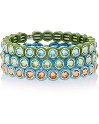 Roxanne Assoulin - Set-of-three Mini Me Fern Enamel And Swarovski Crystal Bracelets - Lyst