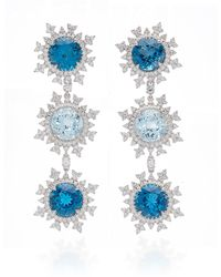 Nadine Aysoy Tsarina Sky Blue 18k White Gold Flake Earrings