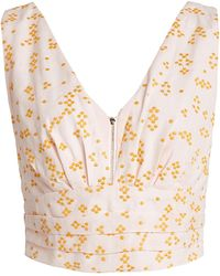 Acler Clairmont Embroidered Cotton-blend Crop Top - Multicolour