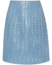 Bottega Veneta Woven Leather Mini Skirt - Blue