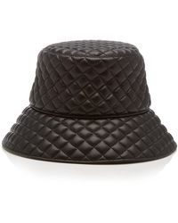 Eric Javits Quilty Quilted-leather Bucket Hat - Black