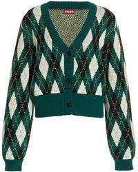 STAUD Knave Argyle-knit Cotton-blend Cardigan - Green