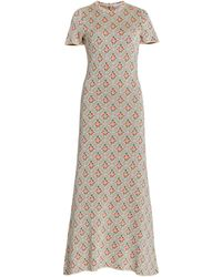 Paco Rabanne - Ring-detailed Floral-jacquard Midi Dress - Lyst