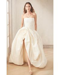 Oscar de la Renta Strapless Silk Taffeta Gown With Large Hand Punched And Embossed Side Flower - White