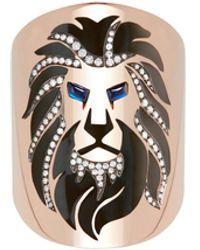 Diane Kordas 18k Rose Gold Lion Ring - Metallic