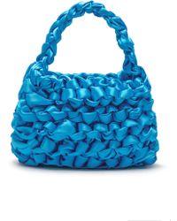 Miista Theodore Knotted Satin Bag - Blue