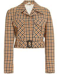 Wales Bonner Kalimba Cropped Checked Wool-blend Jacket - Brown