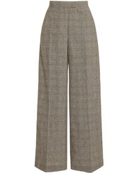 JW Anderson Checked Wool-blend Wide-leg Pants - Gray