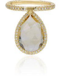Nina Runsdorf 18k Gold Citrine And Diamond Flip Ring - Yellow