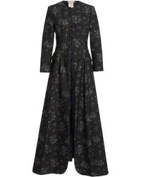 Brock Collection Sebastiana Floral Cotton Collarless Coat - Black