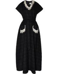 Huishan Zhang Roza Pearl Embellished Check Print Dress - Black