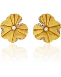 Silvia Furmanovich - Sculptural Botanical Marquetry Gold Leaf Earrings - Lyst