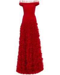 Rodarte - Hand-draped Tulle And Lace-embroidered Gown - Lyst