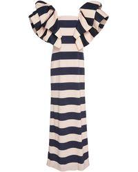 Leal Daccarett Lupita Stripe Crepe Dress - Blue