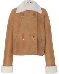 Loewe Cropped Shearling Jacket - Brown