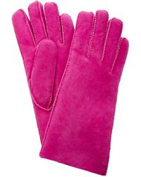 Maison Fabre Short Shearling Cuff Gloves - Pink