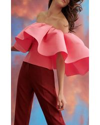 Carolina Herrera High Waisted Straight Leg Twill Trousers - Red