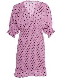 Faithfull The Brand Margherita Ruffled Polka Dot Crepe Mini Dress Size - Pink