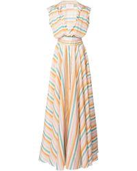 Leal Daccarett Arcoiris Striped Silk Dress - Multicolour