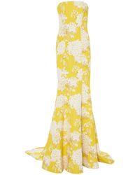 Monique Lhuillier - Strapless Floral Gown - Lyst