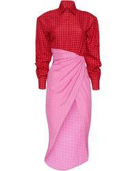 Brandon Maxwell Colorblock Windowpane Cotton Shirt Dress - Pink