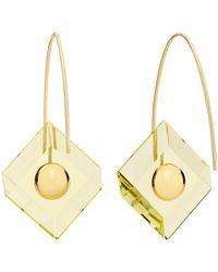 YAEL SONIA Deco Reversible Quartz 18k Yellow Gold Earrings