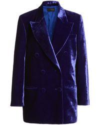 Dundas Velvet Double-breasted Blazer - Blue