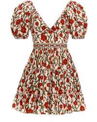 Agua by Agua Bendita Manzanilla Floral Cotton Poplin Mini Dress - Red