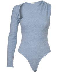Dodo Bar Or Tesh Asymmetric Knit One-shoulder Bodysuit - Blue