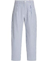 Engineered Garments Carlyle Striped Cotton Trousers - Blue