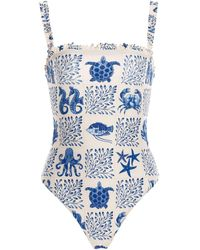 Agua by Agua Bendita Limón Embroidered One-piece Swimsuit - Blue