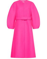 Delpozo Voluminous Sleeve Virgin Wool Coat - Pink