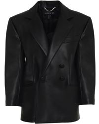 ANOUKI Double-breasted Leather-effect Blazer