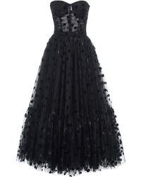 Dolce & Gabbana Flocked Polka-dot Tulle Strapless Cocktail Dress - Black