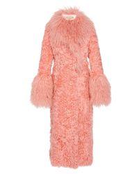 Michael Kors Shearling Statement Sleeve Coat - Pink