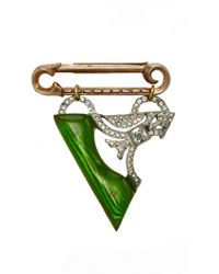 Lulu Frost One-of-a-kind Vintage Brooch #10 - Green