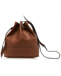 Hunting Season Drawstring Leather Shoulder Bag - Brown