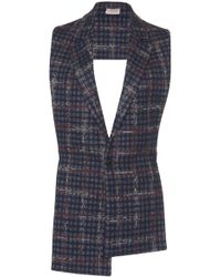Mrz - Plaid Collared Open Back Gilet - Lyst