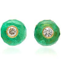 Nina Runsdorf M'o Exclusive: Emerald Bead Stud Earrings - Green