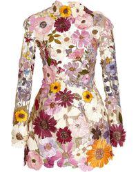 Oscar de la Renta Floral-embroidered Tulle Mini Dress - Multicolour
