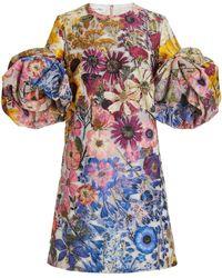 Oscar de la Renta Floral-printed Fil Coupé Shift Dress - Multicolour
