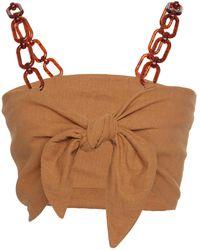 DONNI. Babe Linen Blend Crop Top - Brown