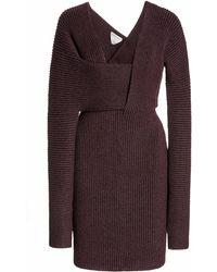 Bottega Veneta Ribbed-knit Mini Dress - Purple