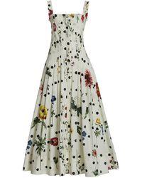 Oscar de la Renta Polka-dot Floral Cotton Maxi Dress - White