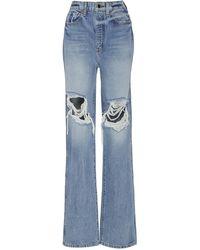 Khaite Danielle Distressed High-rise Straight-leg Jeans - Blue