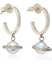 Alina Abegg Mirco Saturn White Gold, Diamond And Pearl Hoops
