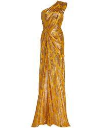 Monique Lhuillier Metallic Jacquard One-shoulder Gown