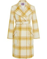 ALEXACHUNG - Plaid Belted Wool-blend Coat - Lyst